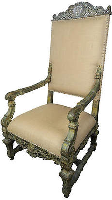 One Kings Lane Vintage 19th C. Italian Carved Throne Armchair