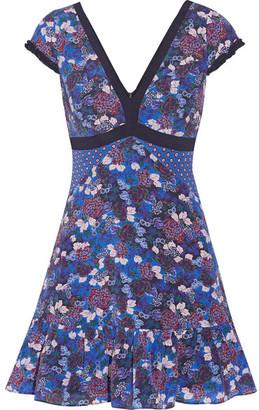 Saloni - Avril Printed Silk-georgette Mini Dress - Blue $520 thestylecure.com