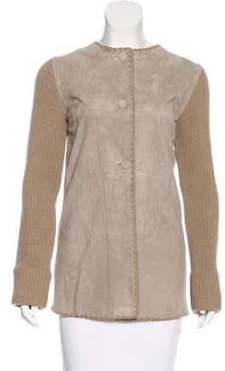 Joseph Suede-Paneled Knit Jacket
