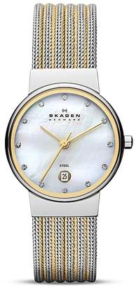 Skagen Two Tone Expressions Mesh Watch, 26mm $125 thestylecure.com