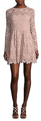 ML Monique Lhuillier Women's Lace Scoop Back Dress