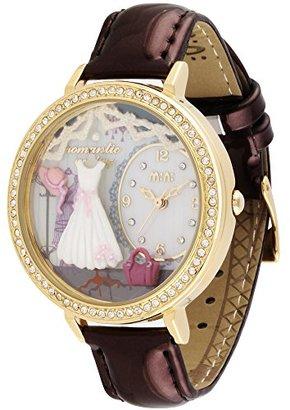 Mini かわいいラインストーンプリンセススカート二重ガラス防水の女の子の腕時計 パープル