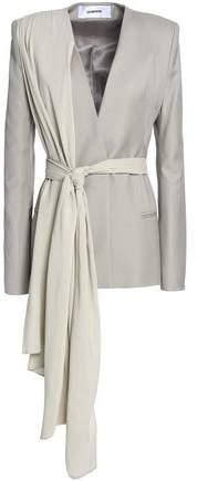 Draped Wool-Crepe Blazer