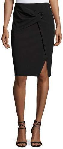Armani Collezioni Faux-Wrap Pencil Skirt, Black