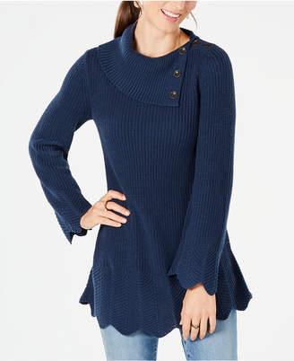 Style&Co. Style & Co Scallop-Hem Tunic Sweater