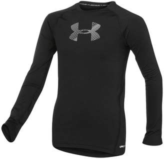 Under Armour Boys Big Logo Long Sleeve Top Black / Grey XL