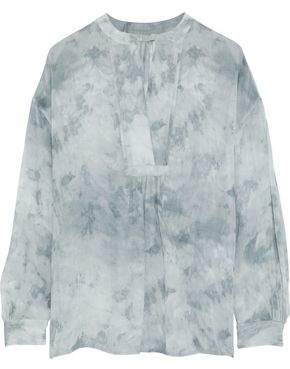 Vince Tie-Dyed Gathered Silk-Georgette Blouse