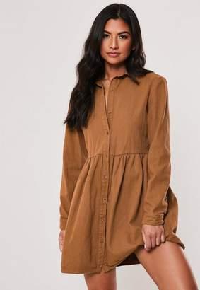 Missguided Tan Denim Smock Dress
