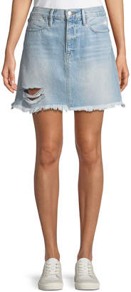 Frame Rigid Re-Release Le High Frayed Mini Skirt