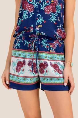 francesca's Priscilla Floral Soft Shorts - Navy