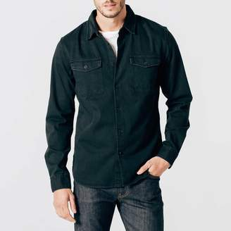 DSTLD Mens Military Shirt Jacket in Black Worn