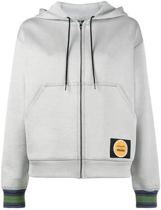 Prada pin-up print zip-up hoodie