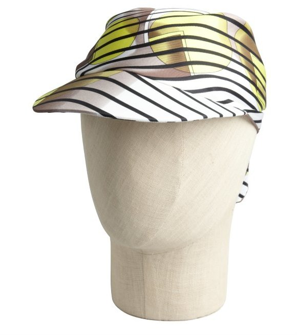 Hermes yellow printed silk cap with scarf
