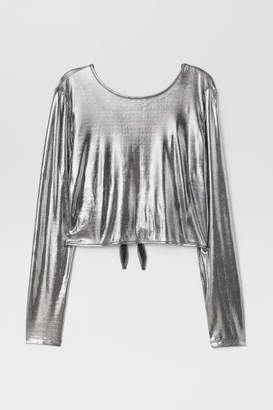 H&M Top with V-neck Back - Silver