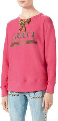 Gucci Print Sweatshirt with Crystal Bow, Bright Pink