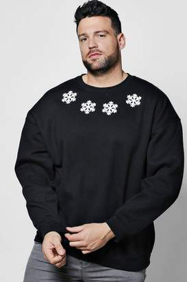 boohoo Big And Tall Christmas Snowflake Jumper