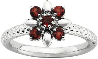 JCPenney FINE JEWELRY Sterling Silver Gemstone Flower Stackable Ring