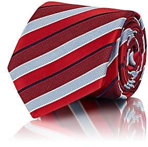 Brioni MEN'S STRIPED SILK REPP NECKTIE - RED