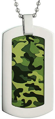 FINE JEWELRY Mens Stainless Steel and Camouflage Dog Tag Pendant Necklace