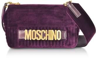 Moschino Purple Velvet Signature Shoulder Bag