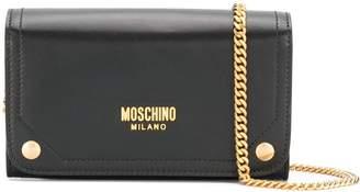 Moschino printed logo clutch bag