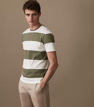 Reiss SEAN BLOCK STRIPED T-SHIRT Khaki