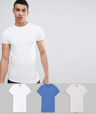 Asos Muscle Fit Crew Neck T-Shirt With Roll Sleeve 3 Pack SAVE