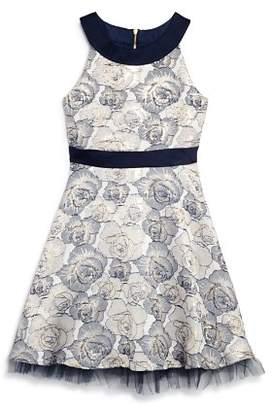 Us Angels Girls' Floral Brocade Dress - Big Kid