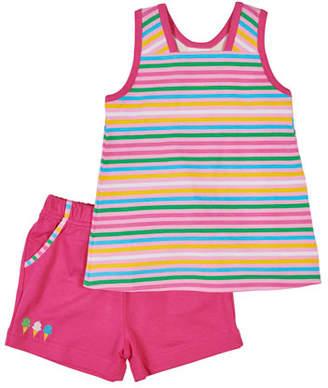 Florence Eiseman Multi-Stripe Tank Top w/ Matching Shorts, Size 2-6X