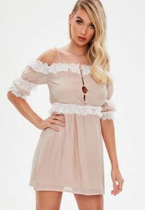 Missguided Nude Satin Lace Detail Mini Dress