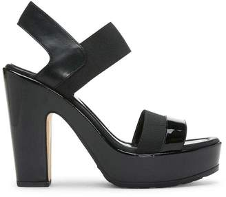 Donald J Pliner NOLITA, Calf and Patent Leather and Basic Elastic Heeled Platform Sandal