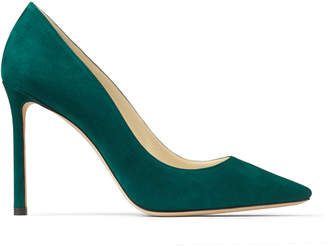 Jimmy Choo ROMY 100 Dark Green Suede Pointed Toe Pumps