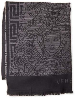 Versace Greek Key Medusa-Logo Wool Shawl