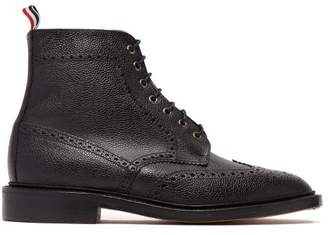 Thom Browne Wingtip Grained Leather Boots - Mens - Black