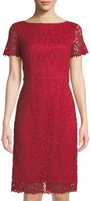 Lafayette 148 New York Short-Sleeve Lace Sheath Dress