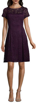 Ronni Nicole Short Sleeve Floral A-Line Dress-Petite