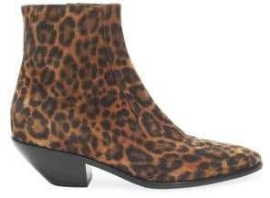Saint Laurent West Leopard-Print Leather Booties