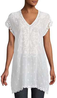 Johnny Was Dani Short-Sleeve Georgette V-Neck Top, Plus Size