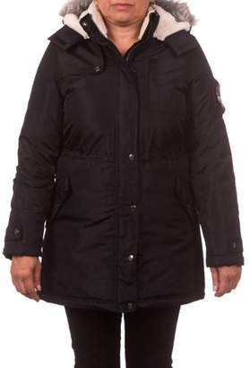 Pink Platinum Juniors' Expedition Anorak Puffer Coat with Berber-Lined and Faux Fur Trimmed Hood