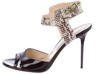 Jimmy Choo Patent Leather Snakeskin-Accented Sandals