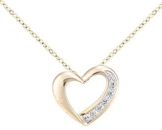 Camilla And Marc Naava Women s 9 ct Yellow Gold Diamond Heart Pendant and  Chain of Length 0b439fa2a