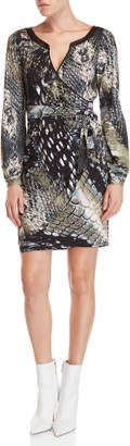 Hale Bob Long Sleeve Reptile Print Faux Wrap Dress