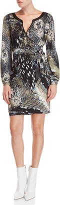 Hale Bob Long Sleeve Reptile Print Faux Wrap Dress