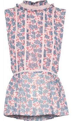Rebecca Minkoff Jamie Lace-Trimmed Floral-Print Chiffon Top