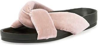 Chloé Crisscross Velvet Slide Sandal