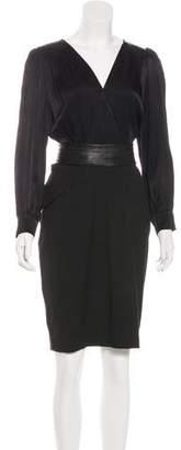 L'Agence Surplice-Neck Long Sleeve Dress