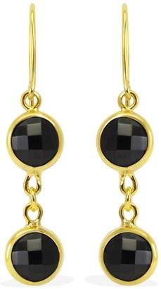 Brio Vintouch Italy Black Onyx Gold Earrings