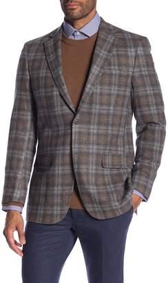 Hart Schaffner Marx Medium Brown Plaid Two Button Notch Lapel Classic Fit Blazer