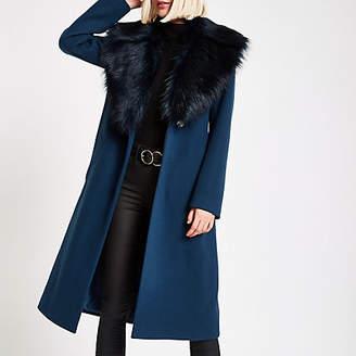 River Island Teal faux fur trim belted robe coat