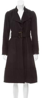 Saint Laurent Fringe Trimmed Wool Coat